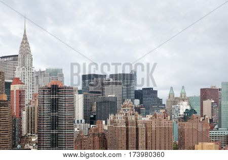 Midtown Manhattan Skyline Panorama With Chrysler Building