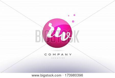 Rw R W  Sphere Pink 3D Hand Written Alphabet Letter Logo