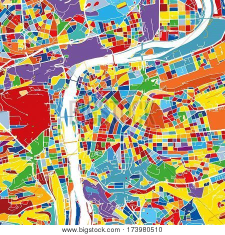 Prague, Czech Republic, Colorful Vector Map
