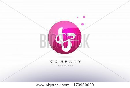 Sz S Z  Sphere Pink 3D Hand Written Alphabet Letter Logo