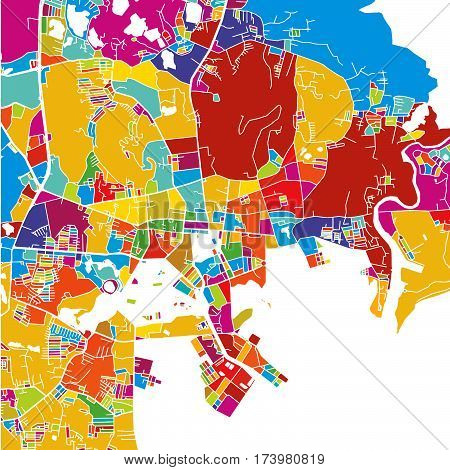 Phuket, Thailand, Colorful Vector Map