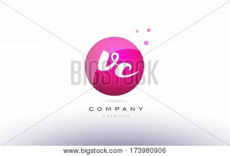 Vc V C  Sphere Pink 3D Hand Written Alphabet Letter Logo