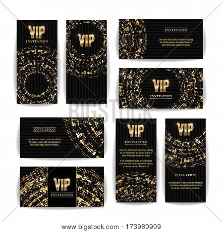 VIP Invitation Card Vector Set. Party Premium Blank Poster Flyer. Black Golden Design Template. Decorative Vector Background. Elegant Template Luxury