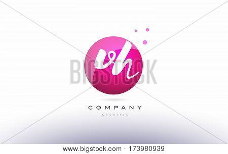 Vg V G  Sphere Pink 3D Hand Written Alphabet Letter Logo