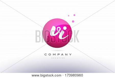 Vi V I  Sphere Pink 3D Hand Written Alphabet Letter Logo