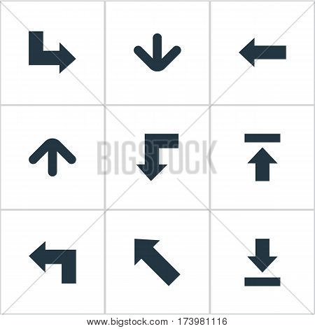 Set Of 9 Simple Cursor Icons. Can Be Found Such Elements As Reduction, Transfer, Downwards Pointing And Other.