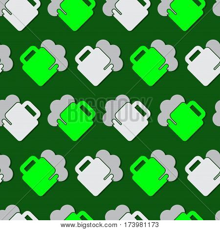 seamless wrapping paper - bright green and white beers with gray froth in front of a dark green background