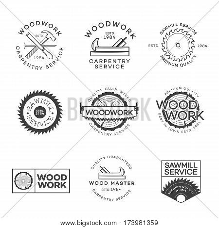Set of carpentry service, sawmill and woodwork labels isolated on white background. Stamps, banners and design elements. Wood work and manufacture label templates. Vector illustration poster