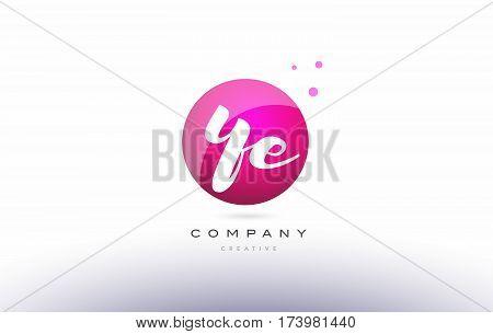 Ye Y E  Sphere Pink 3D Hand Written Alphabet Letter Logo