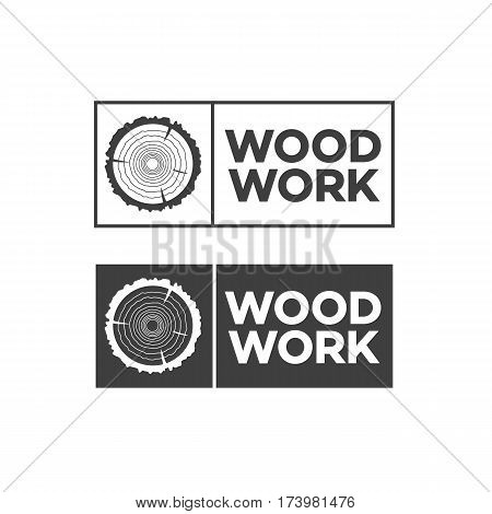 et of black woodwork label. Isolated vector tree rings background and saw cut tree trunk. Stamps, banners and design elements. Wood work and manufacture label templates. Vector illustration