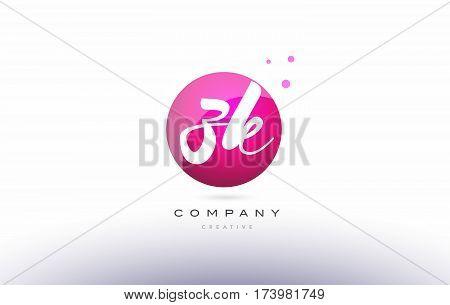 Zk Z K  Sphere Pink 3D Hand Written Alphabet Letter Logo