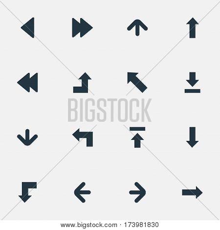 Set Of 16 Simple Pointer Icons. Can Be Found Such Elements As Downwards Pointing, Advanced, Right Direction And Other.