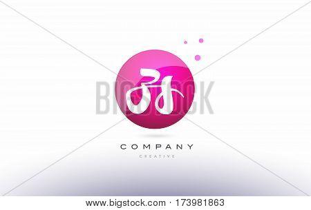 Zs Z S  Sphere Pink 3D Hand Written Alphabet Letter Logo