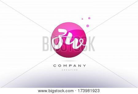 Zw Z W  Sphere Pink 3D Hand Written Alphabet Letter Logo