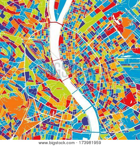 Budapest Colorful Vector Map