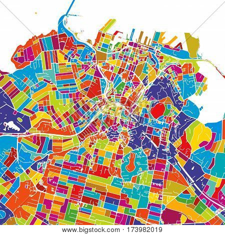 Auckland Colorful Vector Map