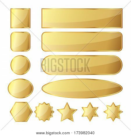 Set of 10 glossy golden buttons or banners in different shapes. Vector illustration. Gold banners isolated on white background.