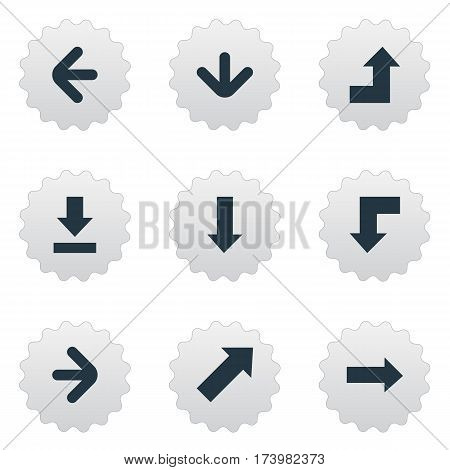 Set Of 9 Simple Arrows Icons. Can Be Found Such Elements As Left Direction, Downwards Pointing, Right Direction And Other.