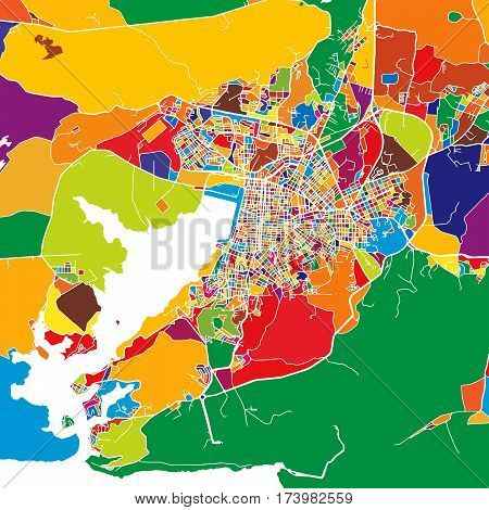 Santiago De Cuba Colorful Map