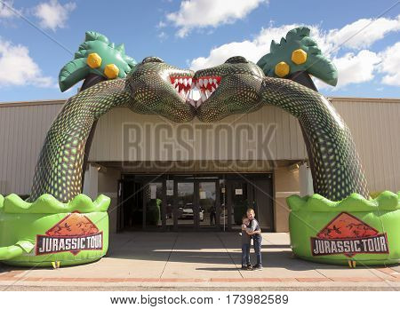 TUCSON, ARIZONA, FEBRUARY 20. The Tucson Expo Center on February 20, 2017, in Tucson, Arizona. An Entrance to T-Rex Planet at the Tucson Expo Center in Tucson, Arizona.