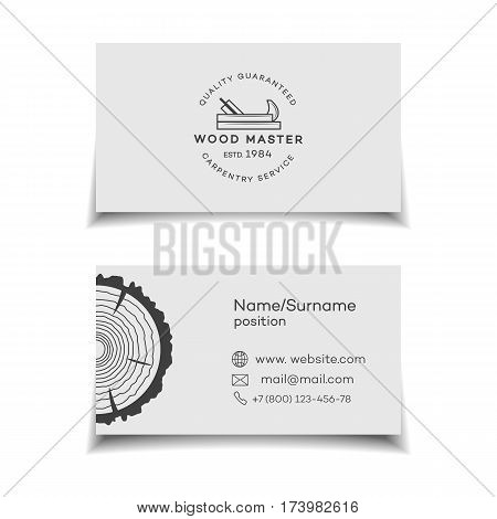 Card for wood master. Wood work and manufacture card for your business. Vector illustration
