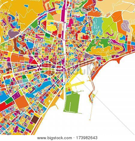 Malaga Colorful Vector Map