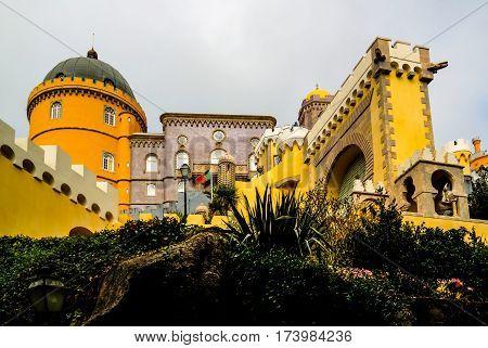 Panorama view to Pena palace Sintra Portugal