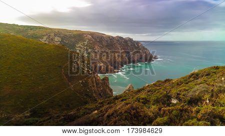 Landscape view to Atlantic ocean from Cabo da Roca Portugal