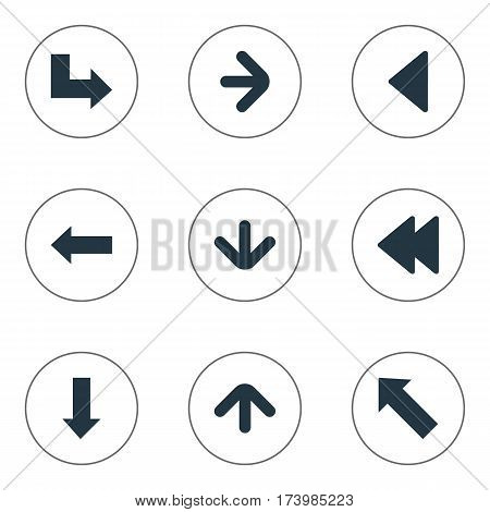 Set Of 9 Simple Indicator Icons. Can Be Found Such Elements As Upward Direction, Downwards Pointing, Left Direction And Other.