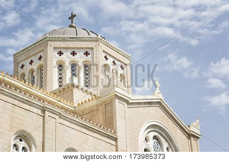 Exterior Detail From Metropolitan Cathedral of Athens, Greece