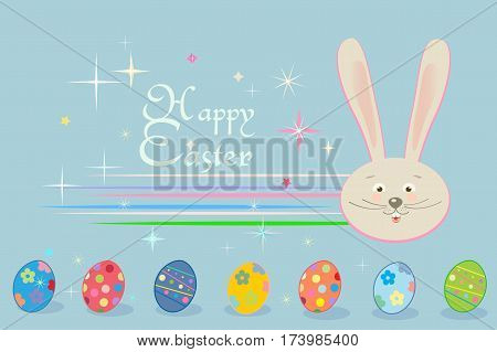 Happy Easter Holiday, Easter Rabbit and Easter eggs, ribbon, Easter Bunny. Greeting card background. Cute Rabbit Flat. Poster. Retro Vector Illustration