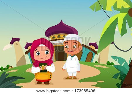 A vector illustration of Muslim Kids Leaving a Mosque