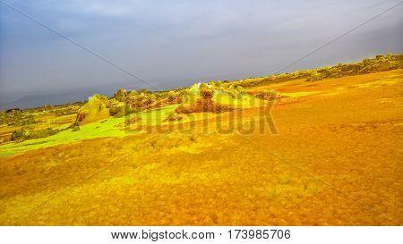Panorama inside Dallol volcanic crater in Danakil depression Afar Ethiopia
