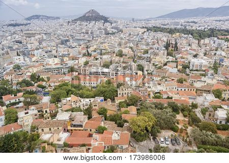 ATHENS,GREECE, SEPTEMBER 6, 2016: Cityscape of Athens from the hilltop near Parthenon, Acropolis of Athens, Greece.