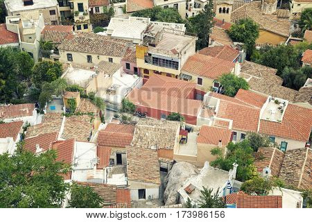 ATHENS,GREECE, SEPTEMBER 6, 2016: Rooftops from Athens, the capital and largest city of Greece.