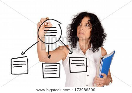 Teacher drawing a school plan on virtual screen. Education concept. Isolated white background.