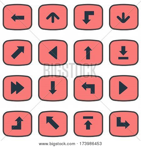 Set Of 16 Simple Pointer Icons. Can Be Found Such Elements As Increasing, Pointer, Let Down And Other.
