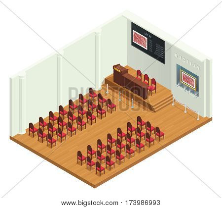 Retro style auction room isometric interior with luxury bidders chairs highlighted pictorial reproductions and auctioneers tribune vector illustration