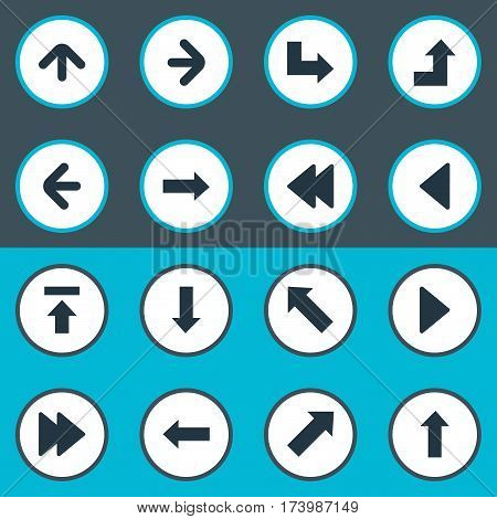 Set Of 16 Simple Cursor Icons. Can Be Found Such Elements As Advanced, Pointer, Right Landmark.