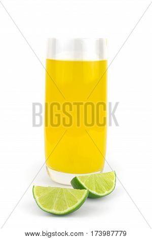 Fresh lime juice isolated on white background.