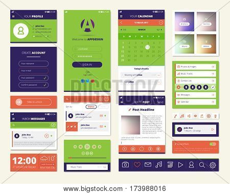 Mobile apps screen elements set with dashboard music player weather widget and account setting isolated vector illustration
