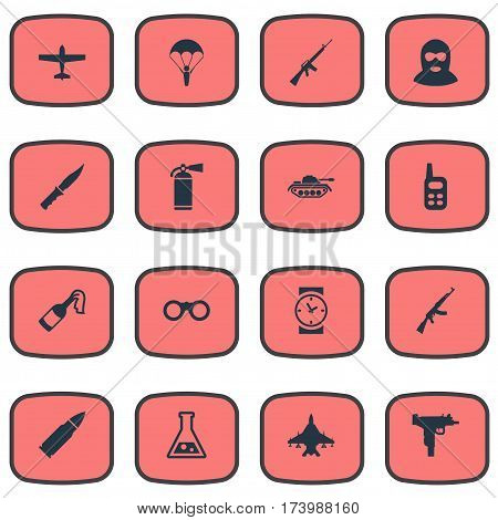 Set Of 16 Simple Battle Icons. Can Be Found Such Elements As Molotov, Extinguisher, Rifle Gun And Other.