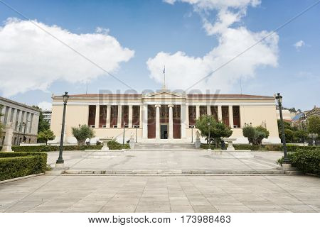 ATHENS, GREECE, SEPTEMBER 8, 2016: Exterior shot of Building of the National & Kapodistrian University of Athens in Panepistimio.
