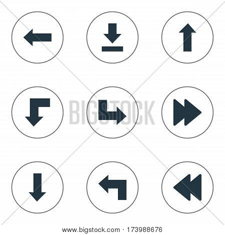 Set Of 9 Simple Pointer Icons. Can Be Found Such Elements As Advanced, Pointer, Let Down And Other.