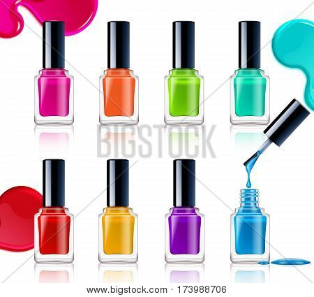 Nail polish assortment of beautiful bright colors on white background with colorful drops realistic vector illustration