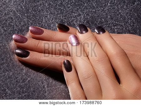 Manicured Nails With Shiny Nail Polish. Manicure With Bright Nailpolish. Fashion Art Manicure With S