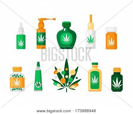 Colored pharmacy cannabis composition in flat style with different types of drugs and methods of using vector illustration