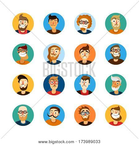 Men faces expressing different emotions colorful userpic set isolated on white background cartoon vector illustration