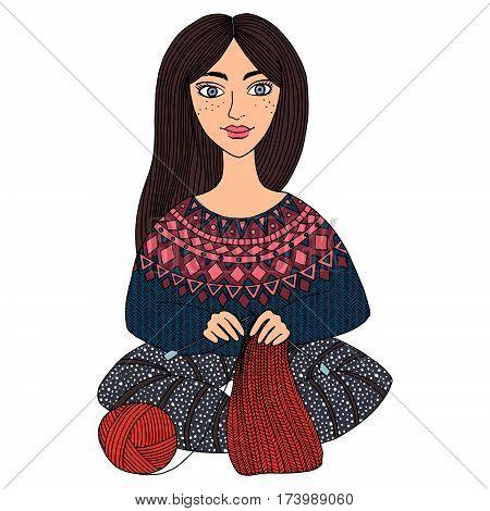 Beautiful girl knits warm scarf. Hobbies, handmade. Cartoon cute person. Isolated vector illustration.