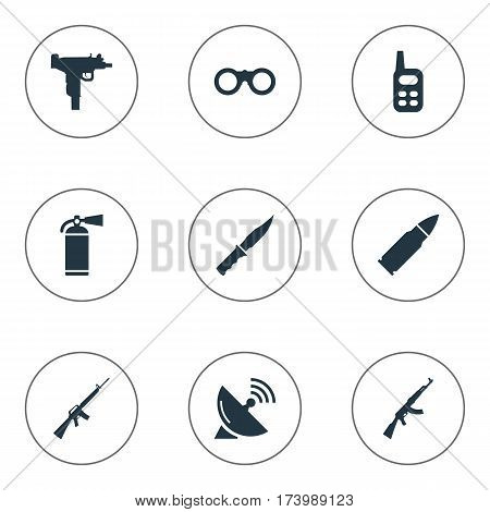 Set Of 9 Simple Terror Icons. Can Be Found Such Elements As Firearm, Cold Weapon, Kalashnikov And Other.